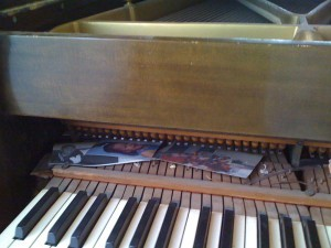 Misc items inside piano
